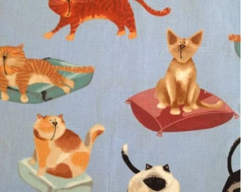 Cotton Fabric Quilting Funny Cats Fabric