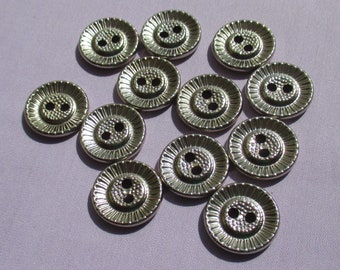 Lot Of Vintage Textured Metal Buttons