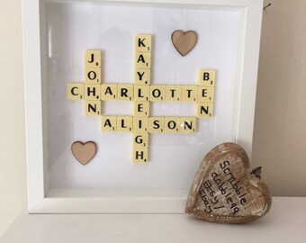 Personalised Scrabble Art Picture Frame Gift Idea present wall art