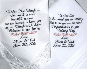 Daughter Wedding Gift Son Wedding Gift in-Law Embroidered