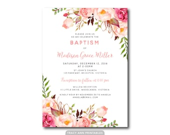 Floral Baptism Invitation, Girl Baptism, Christening Invitation,  Floral Invite, Printable, Digital, 9006