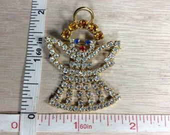Vintage Gold Toned Rhinestone Angel Pin Brooch Used