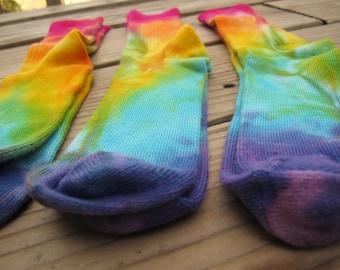 Women's Bamboo Socks, Tie Dyed Socks, Rainbow Socks, THREE PACK! In Stock, Rainbow Bamboo Socks