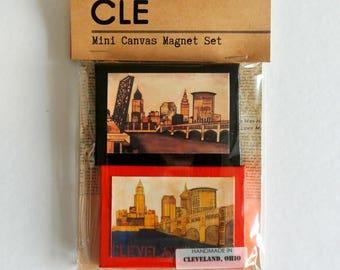 CLEVELAND OHIO SKYLINE - Mini Canvas Magnet Set of 2