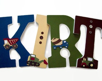 Truck Nursery Letters - Kids Wood Letters - Boys Construction Trucks Nursery Decor - Trucks Wall Letters