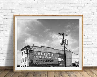 "black and white photography, large art, printable art, instant download printable art, digital download, industrial - ""Moving and Storage"""