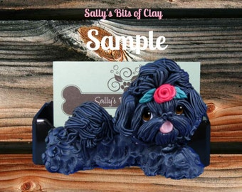 Black Shih Tzu with red rose in topknot Business Card /Cell Phone / Post It Note Holder OOAK Sculpture by Sally's Bits of Clay