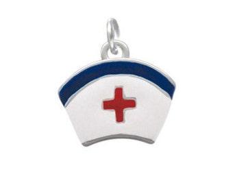 Silver Plated, Enameled, Nurse Hat Charm, Qty: 1