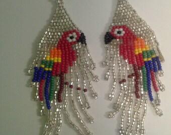 Shiny Beaded Parrot Earings with stone bird accent - Handmade