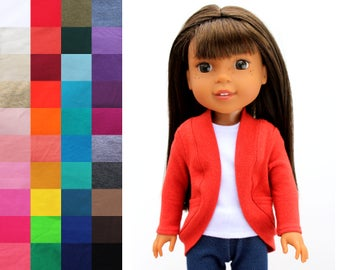Fits like Wellie Wishers Doll Clothes - Tea Cardigan with Pockets, You Choose Color and Sleeve Length | 14.5 Inch Doll Clothes