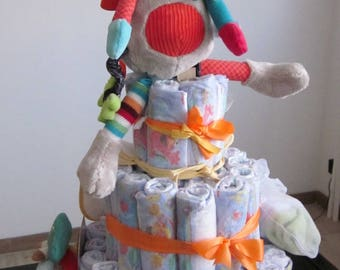 Colorful giraffe boy diaper cake