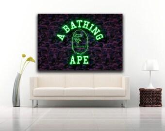 Bape Neon Poster, CUSTOM, A Bathing Ape, Supreme, Off-White
