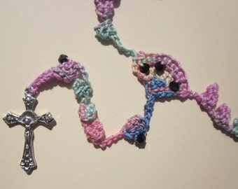 Multicolored (#35) crocheted rosary in pastels