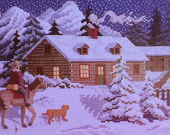 Cross Stitch Pattern | Julia Lucas ALMOST HOME Winter Christmas Picture - Counted Cross Stitch Pattern Chart - fam