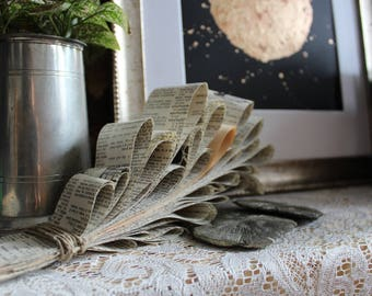 Paper Flower Cluster Vintage Paper Art Curiosity Abstract Book Flower Dictionary Page Art Sculpture  Hanging Paper Fern Gallery Wall Piece