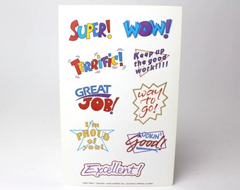 Vintage Current Inc Set of 3 Large Sticker Sheets - School Student Reward Stickers Encouraging Phrases Praise: Excellent! Wow! Good job!