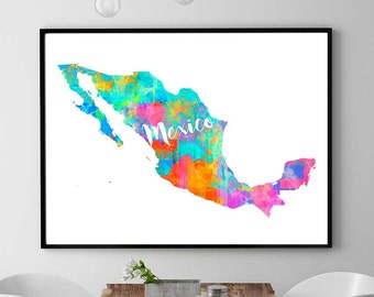 mexico map mexico instant download mexico wall art decor watercolor print mexican - Printable Map Of Mexico