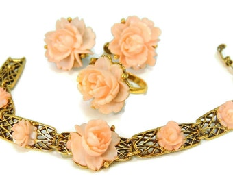 Pink Carved Celluloid Roses Jewelry Set Ring Bracelet Earrings Vintage Pink Roses
