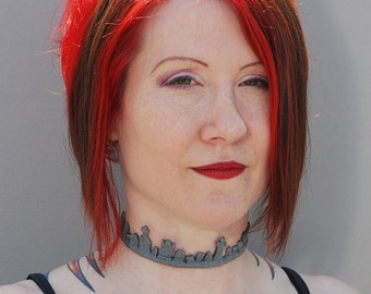 Gothic Lolita choker Necklace-Creepy Gothic Cemetery Tombstone Necklace  choker -Faux Granite