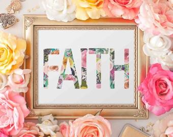 Faith Printable Wall Art, love printable art, Baby Girl Nursery decor, Nursery art, home decor love quote, hope love faith printable