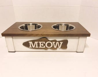 Cat Bowl,Rustic Pet Feeder, Personalized Cat Bowl, Raised Cat Feeder, Elevated Cat Feeder, CatFeeding Station, Cat Dish , Pet Supplies