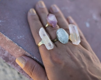 Clear Quartz crystal ring