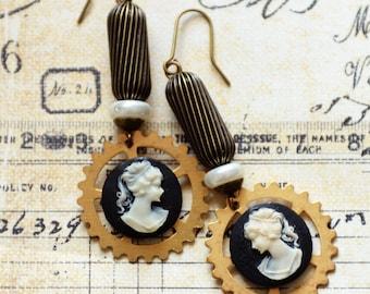 Steampunk Earrings, Neo-Victorian Cameo Earrings, Industrial Chic Brass Gear Earrings, Steampunk Cameo Earrings, JewelryFineAndDandy, SRAJD
