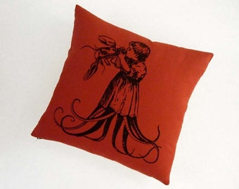 Starving Child Octopus Baby silk screened cotton canvas throw pillow 18 inch black on red