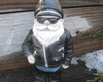 Biker Gnome Concrete Garden Statue, Gnomes In Black Leathers Worn By Bikers,  Hog Motorcycle Rider,