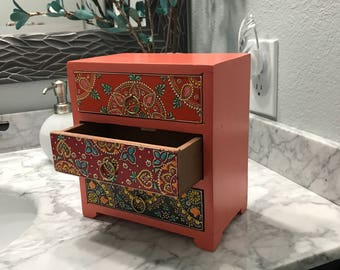Jewelry Dresser Drawer Hand Painted Wooden Box, Accessory Storage Bin Home Decorative Apothecary Cabinet, Item #560486721