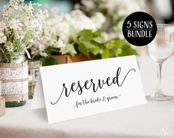 Reserved Signs Bundle: Printable Wedding Reserved Signs for Bride & Groom, Bride's Family, Groom's Family, Bridal Party and Reserved, VW10