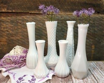 Vintage Wedding Vases/Set of Six/Milk Glass/Assorted/Country Wedding/Farmhouse Decor