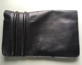Vintage leather Harrods black clutch bag 1970's