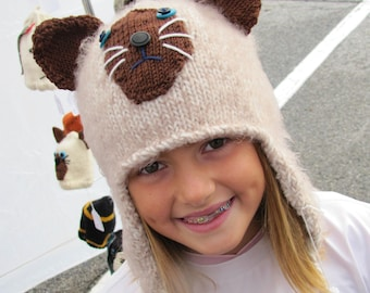 Siamese cat hat with earflaps