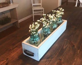 Wood box centerpiece large; table decor; spring decor