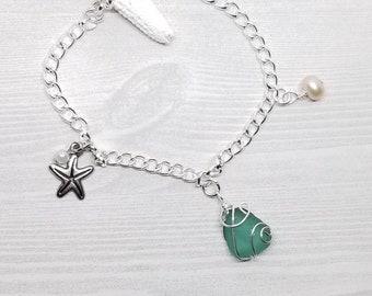 Seaglass bracelet, seaglass jewlery, beach bracelet, beach jewelry, beach lovers gift, beach gift