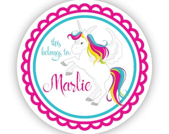 Name Label Stickers - Rainbow Unicorn, Magical Pink Unicorn Personalized Name Tag Sticker, This Belongs To Tag - Back to School Name Labels