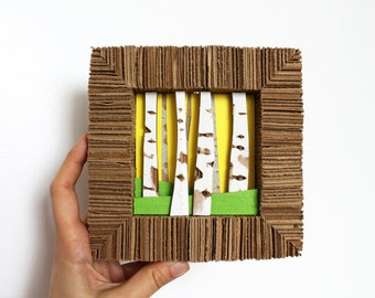 Cardboard Art Spring Birch Forest / Sunny Yellow Sky Fresh Green Grass / Upcycled Eco-friendly Interior Decor Wall Hanging / Original OOAK