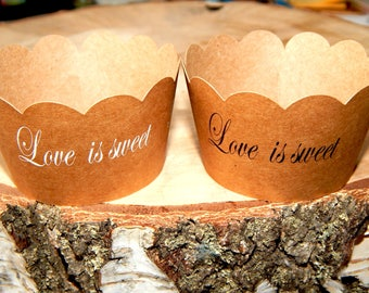 Set of 5-50 pcs. Kraft Paper With Custom Love Is Sweet Cupcake Wrappers, Wedding Party Cupcake Decorations, Monogrammed Bridal Shower