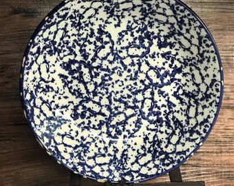 Crate & Barrel White and Blue Print Plate
