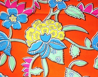 Yellow Peony Blue Peony on Orange Ground-Cotton Printed-Vintage Hand printed-Cotton by yard-Decoration Fabric-Supply every Handcraft-3Y20cm