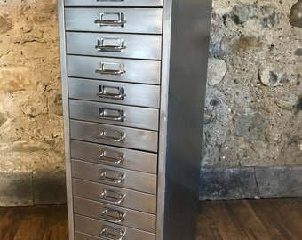 Industrial stripped mtal 15 drawer filing cabinet
