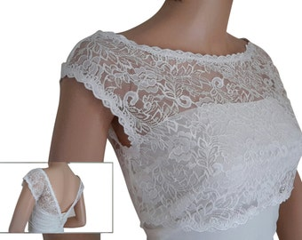 Ladies  White or Ivory Lace Bridal Shrug/ cover up with button detail  for Weddings, Proms, Balls or Cruises in sizes UK  8,10,12,14,16 & 18
