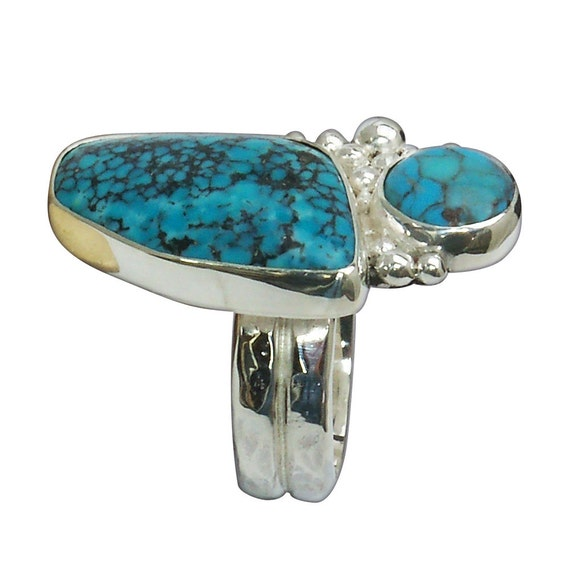 Kingman Turquoise and Sterling Silver Two Stone RIng, Size 6-3/4  r675turg2746