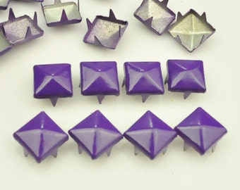 100 pcs.Amethyst square Studs Rivets Biker Spikes spots nailheads Decorations Findings 9 mm  with 4 claws Rivets DIY accessories.