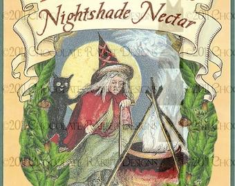 Vintage Halloween Witch Potion Bottle Label Digital Download Printable image- Nightshade Nectar INSTANT DOWNLOAD High Resolution