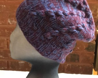 Smoky Hat (Purple and Blue) 100% Yak Down Wool - 5217