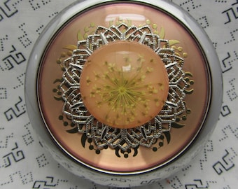 Compact Mirror Dried Flowers On Pink Comes With Protective Pouch Gift For Her