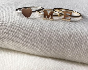 14k gold initial ring, gold letter ring