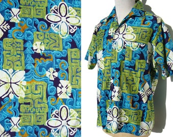 Vintage Aloha Shirt Mens Hawaiian Tiki Tribal Go Barefoot in Paradise XL